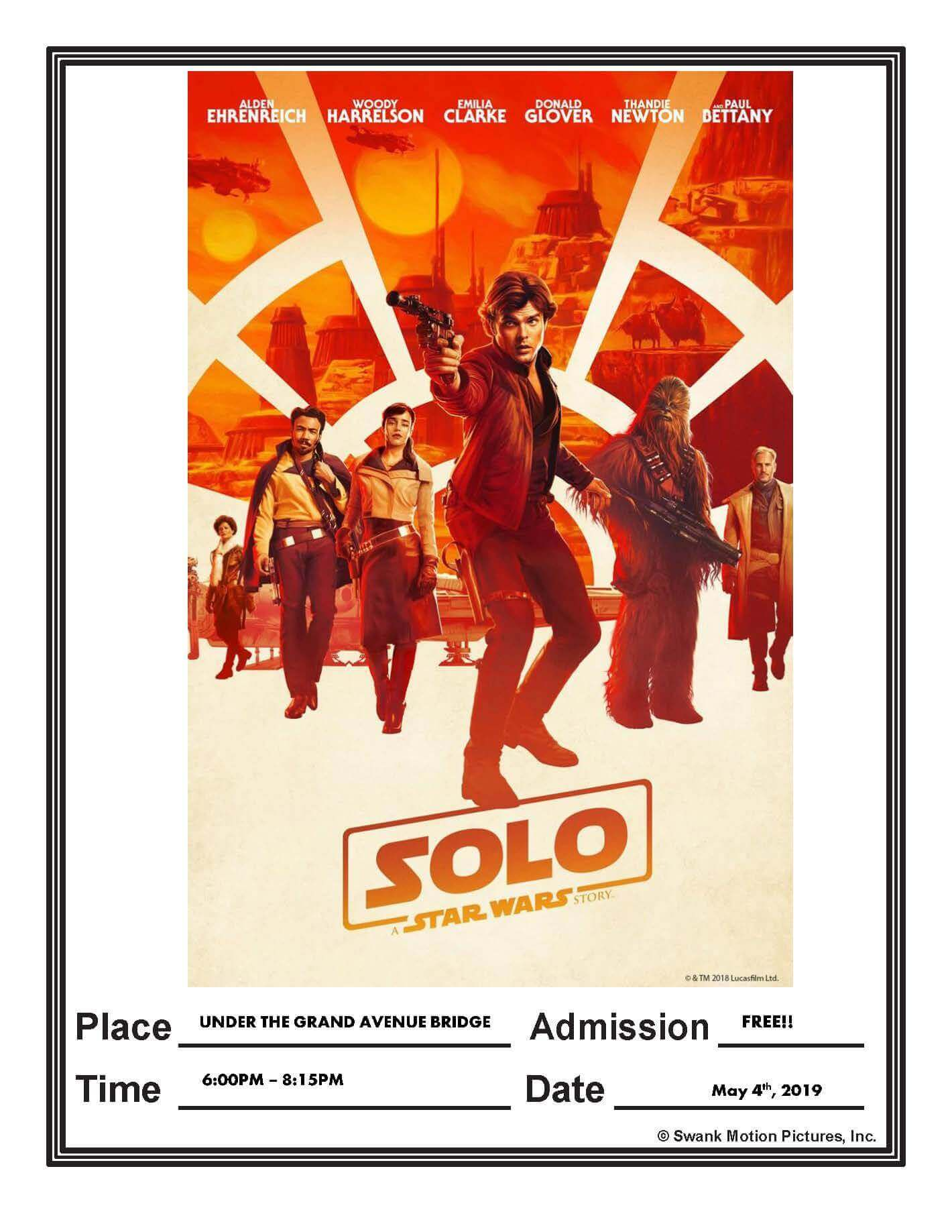hans solo movie poster modified for Glenwood Springs event