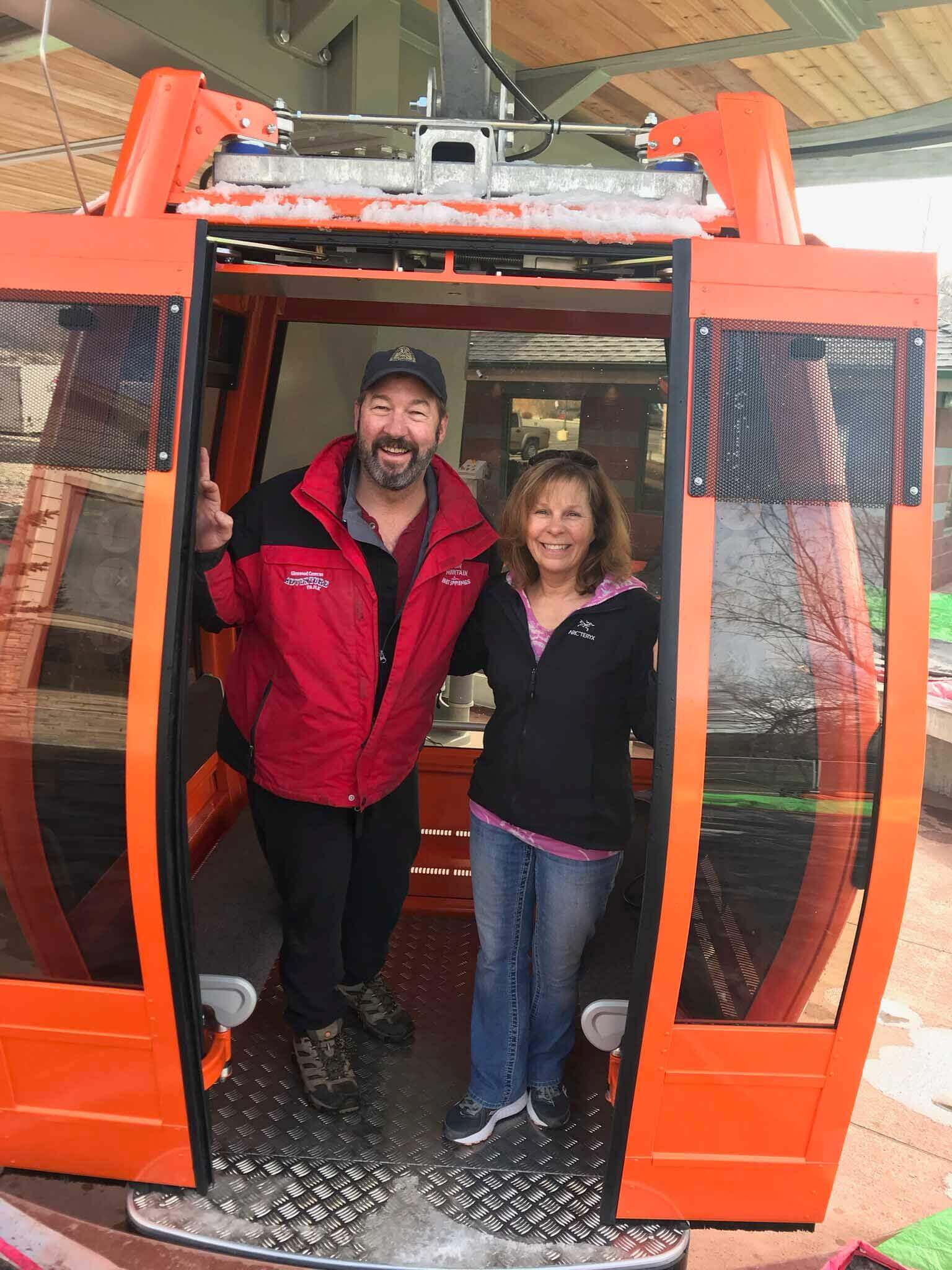 steve and jeanne in the new gondola